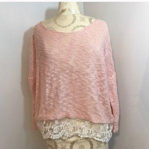 Pink sweater w/ lace bottom. Size Medium